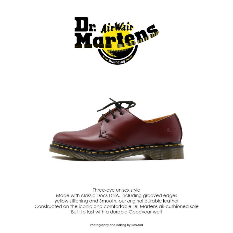کفش سه بند زرشکی دکتر مارتینز