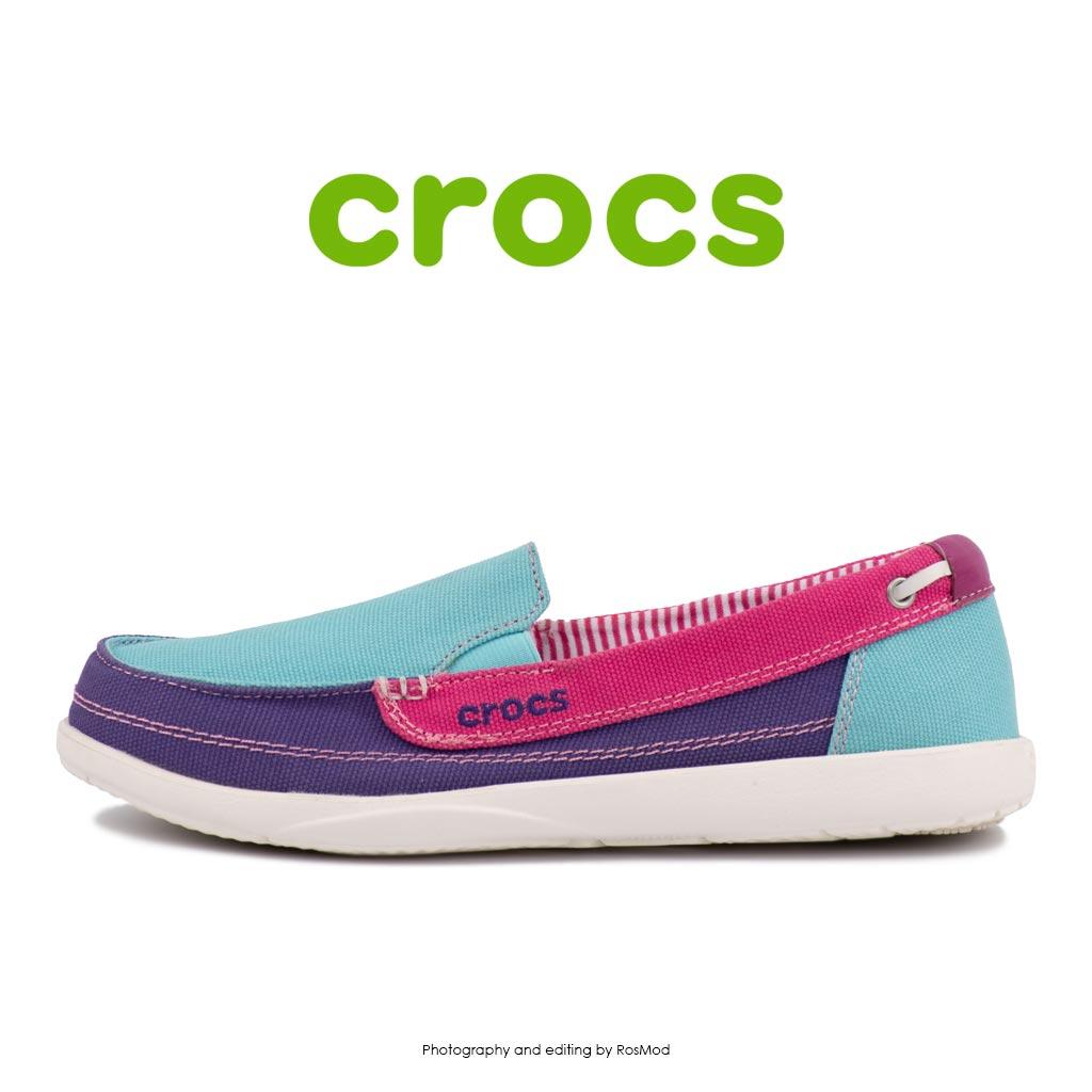 لوفر زنانه کراکس - Crocs Walu Loafer Aqua Fuchsia
