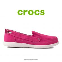 لوفر زنانه کراکس - Crocs Walu 2 Striped Floral Loafer Berry/Oyster