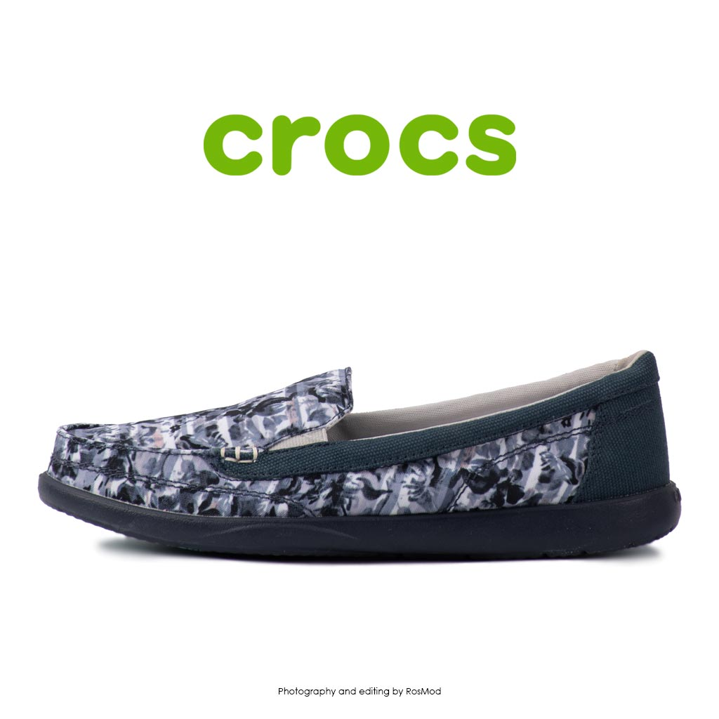 لوفر زنانه کراکس - Crocs Walu 2 Striped Floral Loafer Multi/Navy