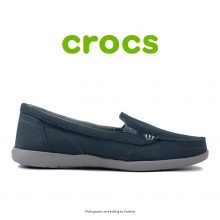 لوفر زنانه کراکس - Crocs Walu 2 Striped Floral Loafer Navy/Silver