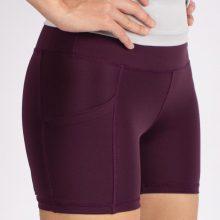شلوارک کوتاه اسلیم افکت بادمجانی جیبدار - Agi Slim Effect Shorts Murdum