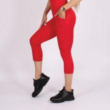 لگ اسلیم افکت جیبدار قرمز قد 75 - Agi Slim Effect Leggings Kırmızı