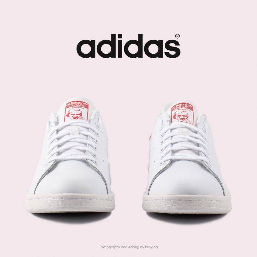 کتانی آدیداس استن اسمیت – Adidas Stan Smith Cloud White and Collegiate Red Shoes M20326