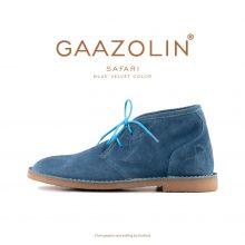 کفش صحرایی سافاری گازولین مخمل آبی - GAAZOLIN Safari Veldskoen Shoes Blue Velvet