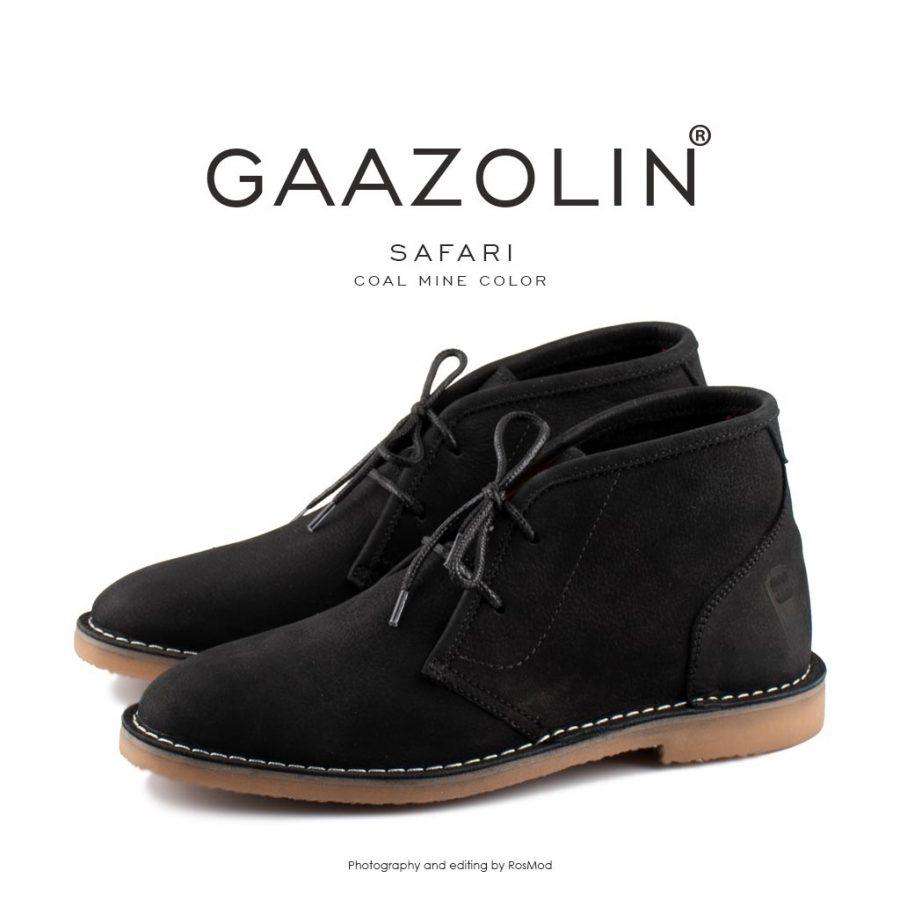 کفش صحرایی سافاری گازولین مشکی – GAAZOLIN Safari Veldskoen Shoes Coal Mine