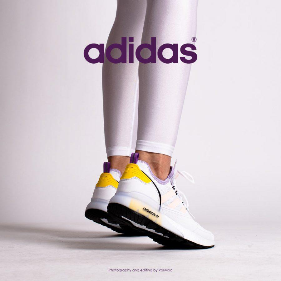 کتانی پیاده روی زنانه آدیداس سفید/رنگی – Adidas ZX 2K Boost White/Pink-Yellow-Purple