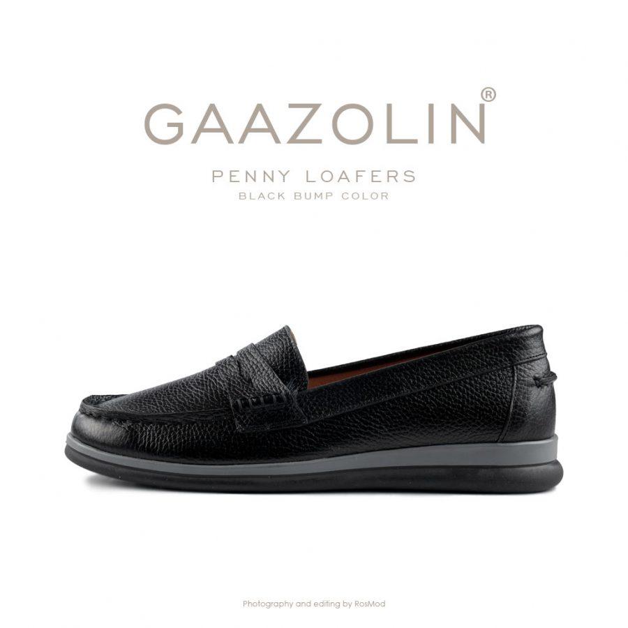 لوفر پنی گازولین مشکی – GAAZOLIN Penny Loafers Black Bump Color