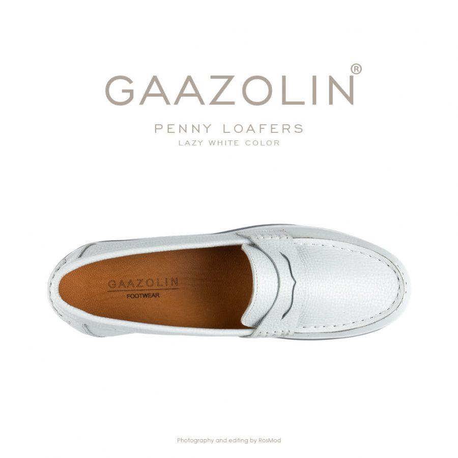 لوفر پنی گازولین سفید – GAAZOLIN Penny Loafers Lazy White Color